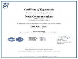 Nova Comm-ISO Certification